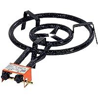 Garcima 20400 - Hornillo paellero 400/2 fuegos, 40,7 x 66 x 11,5 cm, color negro