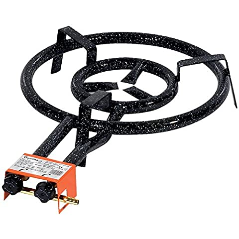 Garcima Paella Dual Ring Butane/Propane Gas Burner, Black, 35 cm