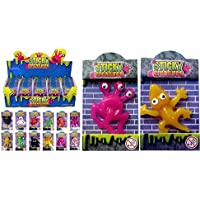 The Harlequin Brand 12 X Sticky Creatures Throwing Toys - Party Bag Filler