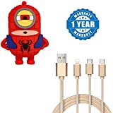 Captcha Cartoon Power Bank 8800Mah Lovely Cartoon Coolest Design Superhero Minions Powerbank With Fiber 3 In 1 USB Charging Cable With 8 Pin Lightning, USB Type C, Micro USB Charging Cable Compatible With Xiaomi, Lenovo, Apple, Samsung, Sony, Oppo, Gionee