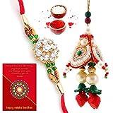 #3: Traditional Villa Designer Ethnic Bhaiya Bhabhi Special Rakhi Gift Set Rakhi For Bhaiya Bhabhi And Rakhi For Bhaiya Bhabhi Combo And Rakhi Gifts For Brother Rakhi Set Free Shipping+Roli+Chawal+Greeting Card !!-2Bbs290