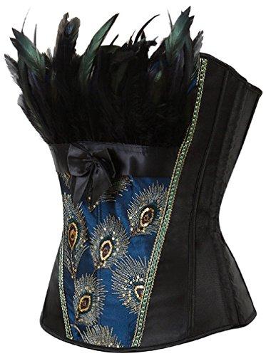 Bettydom Damen Burlesque Vollbrust Korsett Dessous Corsage Kostüme Pfau Pattern Halloween Karneval Kostüme mit G-String Schwarz