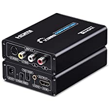 S-video to HDMI Converter, Tendak S-video RCA AV CVBS Composite to HDMI Converter Upscaler Adapter N64 SNES to HDMI Adaptor Support PS2, Blu-ray Player, Nintendo 64, SNES, Sega Genesis and More