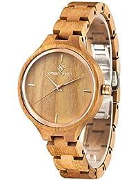 GreenTreen Reloj de pulsera de madera para las mujeres de Color marrón