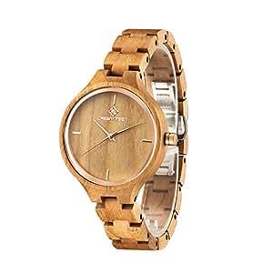 GREENTREE Sandelholz Armbanduhr Damenuhr Kirschholz Uhren Frauen Uhren: Amexi