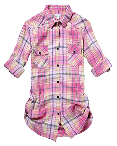 Match Camisas Mujer Blusa Franela Cuadros Manga Larga