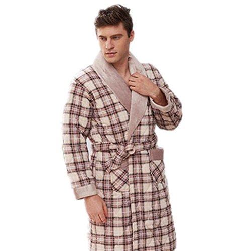 LIUDOU Di uomini cotone imbottito camicia da notte di cotone