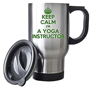 Vert Inscription Keep Calm I'm a Yoga Argent Instructor Tasse de voyage