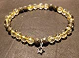 bracelet CITRINE PYRITE et étoile Argent 925 attire l'argent abondance chance pierre naturelle semi-précieuse...