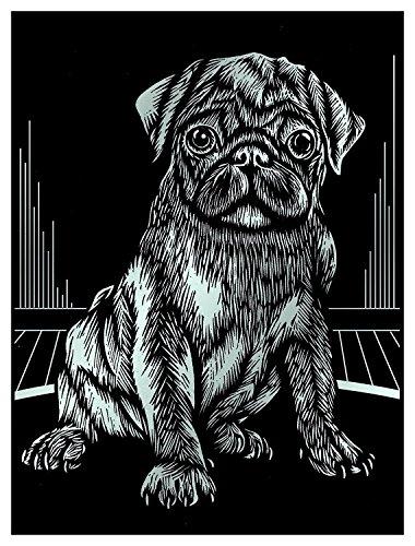 MAMMUT 136055 - Kratzbild, Motiv Mops (Hund), silber, glänzend, Komplettset mit Kratzmesser und Übungsblatt, Scraper, Scratch, Kritzel, Kratzset für Kinder ab 8 Jahre - Mops-fotos