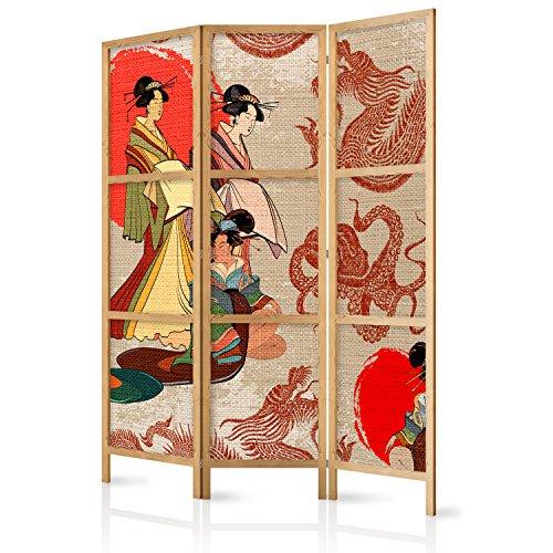 murando - Biombo Geisha 135x171 cm - 3 Paneles Lienzo de Tejido no Tej