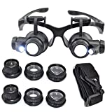 Kabalo 10X 15X 20X 25X LED Magnifier Double Eye Glasses Loupe Lens Jeweler Watch Repair Tool Set - Lupenbrille Kopfband Lupen Set Juwelierlupe Uhrmacherlupe