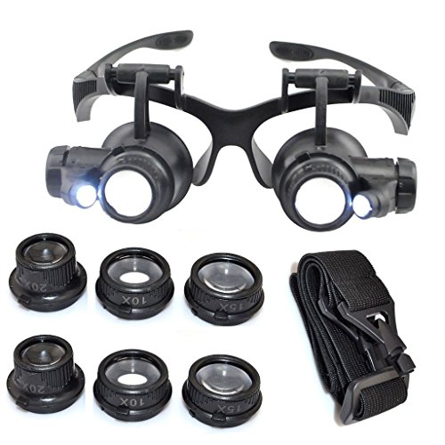 Kabalo 10X 15X 20X 25X LED Magnifier Double Eye Glasses Loupe Lens Jeweler Watch Repair Tool Set - Lupa Magnifying Eye Glasses Anteojos Loupe Herramienta Tool de Reparación de Relojes Watch + LED Light Luz