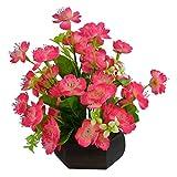 #10: Thefancymart Artificial Japanese Wild flowers arrangement (size 11 inchs/ 28 cms) with Hexagun Wood Pot Code- 1133