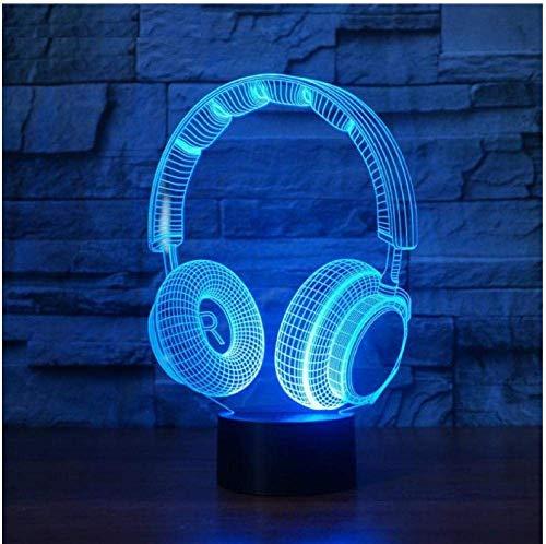 3D-Illusion Nachtlicht Weihnachten Lámpara 3D-Ohrmuscheln DJ Studio Monitor-Ohrmuscheln Hi-Fi luz nocturna 3D-Ohrmuscheln colorida lámpara de escritorio decoración de Gift