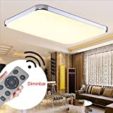 MYHOO 64W Dimmbar Ultraslim LED Deckenleuchte Modern Deckenlampe Schlafzimmer Küche Flur Wohnzimmer Lampe (Silber Dimmbar 3000-6500K)