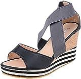 Damen Schuhe Sailor Kork Riemchen Keilabsatz Wedges Sandalen (38, Schwarz)