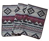 Ruth&Boaz Outdoor Decke aus Wollmischgewebe mit ethnischem Inka Muster (L) (burgunderfarben, 60