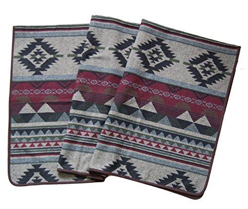 """Ruth&Boaz Outdoor Decke aus Wollmischgewebe mit ethnischem Inka Muster (L) (burgunderfarben, 60\""""x 81\"""")"""