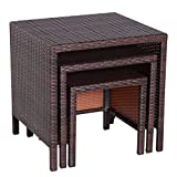 'Outsunny Rattan Garden Furniture 3 Pcs Nest Of Tables Patio Outdoor End Side Table Wicker Conservatory