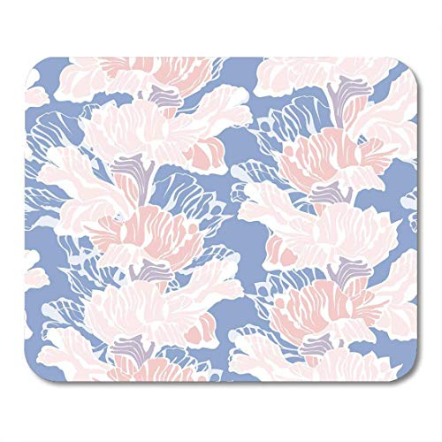 Mouse Pads Blossom Blue Abstract Stylish Floral Pattern with Iris Flowers Pastel Colored Pink Beautiful Border Mouse Pad - Abstract Iris