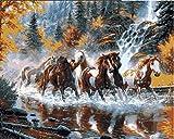 Dipinti Ad Olio Fai-Da-Corsa Cavalli Attraverso Il Flusso Immagini Dipingere Dai Numeri Fai Da Te Digitale Tela Pittura A Olio Home Decor Frameless