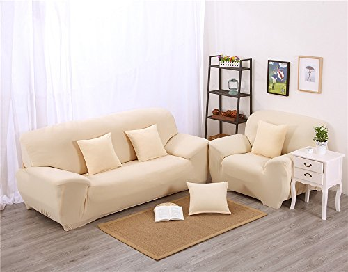 qwer-solid color poliestere elasticizzato tessuto divano Slipcovers Luxury Quilted Furniture Protector cover Easy Clean and Fit Home Furniture Slipcovers set divano, tinta unita - beige, 235*300