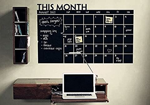 AWAKINK Chalkboard Calendar with Memo Wall Decal Removable waterproof Vinyl Wall Sticker Wall Art Fashion Sticker