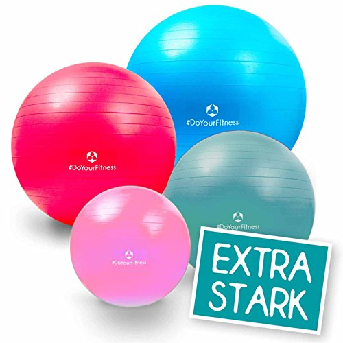 55cm bis 85cm Gymnastikball Büroball Fitnessball Robuster Sitzball Pilatesball/hohe Belastbarkeit / 9X Farben (grün blau rot pink lila Silber schwarz gelb türkis) / inkl. Luftpumpe / 65 cm/türkis