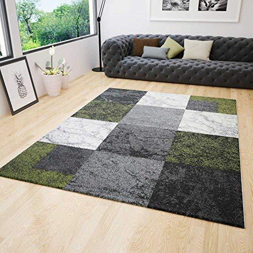Wohnzimmer Teppich Modern Kurzflor Kariert Grün Grau Creme Meliert Konturenschnitt 120x170 cm (Grau Garn Melierten)