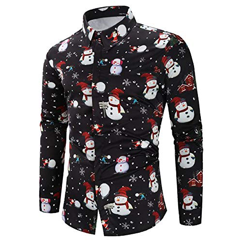 FRAUIT Weihnachten Schokoladenfarbe Herren Hemd Männer Button Weihnachtspullover Drucken Shirt Slim Fit Hemden Basic Regular Fit Langarm Christmas Stretch Schwarz Xmas Sweatshirt