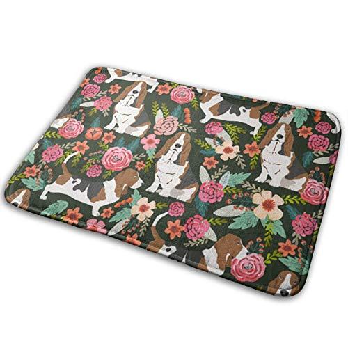 waschbare Badezimmermatte Basset Hound Dog Floral Absorbent Schnell trocknende Fußmatte Anzug für Innen/Außen/Frontdoor/Schlafzimmer/Wohnzimmer/Esszimmer, 40X60CM ()