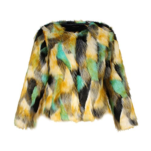 Yuandian donna autunno inverno casual colorato colore gradiente corto pelliccia sintetica giubbotto giacche morbido caldo elegante ecologica pellicce pelo cappotti giallo+verde s
