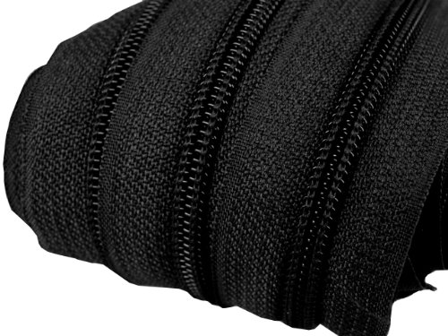 2 m endlos Reißverschluss 5 mm Laufschiene + 5 Zipper Meterware teilbar Farbwahl (schwarz)