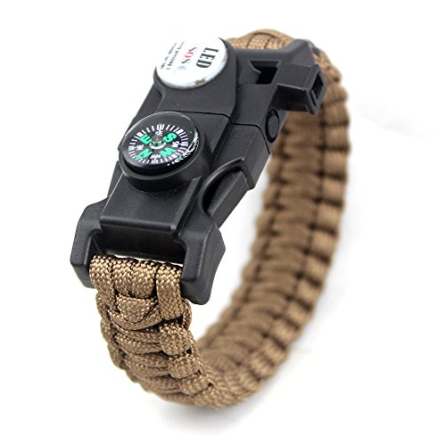 Tlingit Survival Armband SOS LED-Licht Feuerstarter Messer Set 20 in 1 Paracord Überlebens Ausrüstung für Outdoor-Aktivitäten Notfall Wandern Mehrere Farben Bracelet brown (Multi-seil-leuchten)