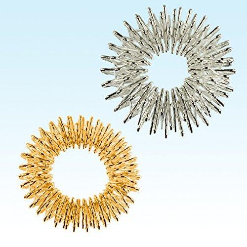 2 x 2er Fingermassageringe Akupressur Energie-Ring Massageringe Gold klein und Silber groß