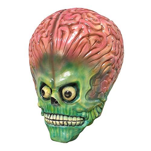 Beängstigend Alien Gehirn Maske Latex Voller Gesichtsmaske UFO Mars Cosplay Kostüm Mars Soldat Halloween Maske Horror Dekoration Requisiten (Kinder Beängstigend Alien Kostüm)