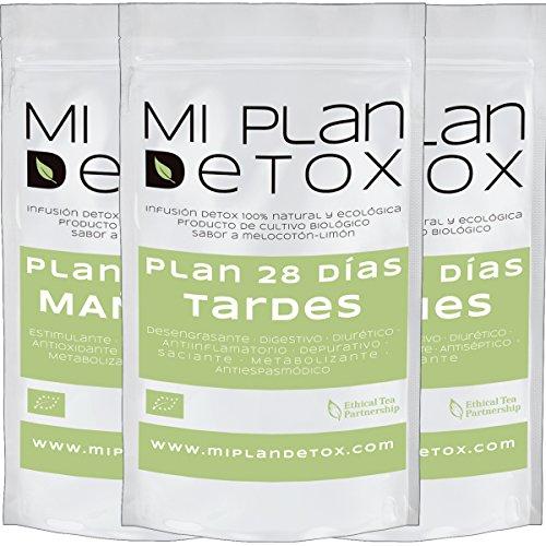 Plan Detox 28 días. Depura tu cuerpo. Té detox. Saciante, Desintoxicante, Elimina Toxinas, 100% natural. ÚNICO con 3 infusiones diarias. Plan Detox para 28 días. Plan Té Detox(infusión mañana, tarde y noche)