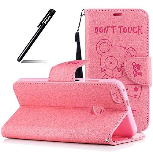 BtDuck Huawei P10 Lite Hülle, Rosa Tasche Hülle Flip Schutzhülle Zubehör Lederhülle mit Weich Silikon Back Cover für Huawei P10 Lite PU Handyhülle Brieftasche für Huawei P10 Lite