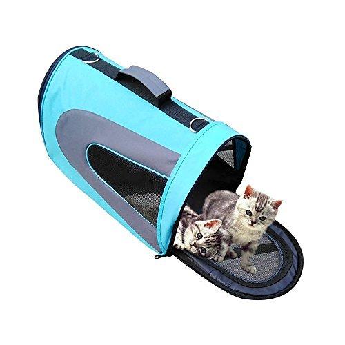 Stoga portatile Pet soft Sided Carrier Cane Gatto portante in tessuto Oxford Borsa Borsa da viaggio perfetta per Cani Gatti Cuccioli-Blu