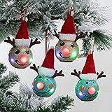 Valery Madelyn LED Bolas de Navidad de Decoupage Set de Regalo, 4pcs 3.1Inch/8cm Adornos Navidad para Arbol Rudolph, Decoración de Bolas de Navidad Inastillable Plástico con...