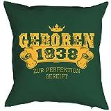 zum 80. Geburtstag Geschenkidee Polster Kissen mit Füllung Geboren 1938 zur Perfektion gereift Polster zum 80. Geburtstag für 80-jähirge Dekokissen