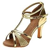 NMERWT Frauen Rumba Waltz Prom Ballroom Latin Salsa Tanzschuhe Square Damen Dance Gesellschaftstanz Pumps Latein Schuhe (38, Z2-Gold)