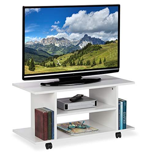 Relaxdays TV Board mit Rollen, 4 offene Ablagen, fahrbarer Couchtisch, für Geräte, CDs, DVDs, HBT 40 x 80 x 40 cm, weiß, PB (Particle, Stahl, Papier