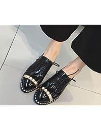2017 nueva primavera zapatos bajas de un solo viento británico salvaje femenina para ayudar a los zapatos de perlas pequeños zapatos , black , 7.5