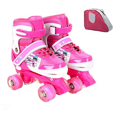 ZCRFY Einstellbare Rollschuhe Quad Kids Doppelte Reihe 4 Räder Rollerblades Für Anfänger Kleinkinder Kinder Jungen Mädchen Schlittschuh Geburtstagsgeschenk,Pink-Set2-S(26-32) Code