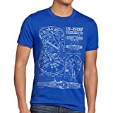 style3 Millennium Falcon Herren T-Shirt blaupause falkon , Größe:M;Farbe:Blau
