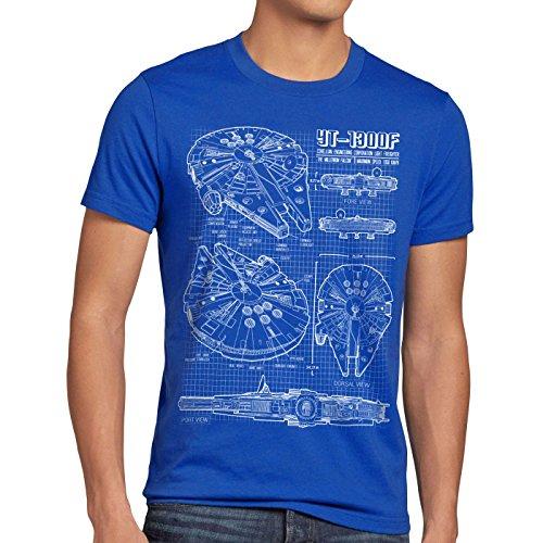 Style3 Halcón Milenario Cianotipo Camiseta hombre