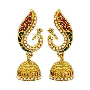 Voylla Metal Dangle and Drop Earrings for Women(Gold) (8907275235576)