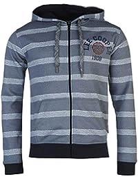 Lee Cooper textil impresión sudadera con cremallera y capucha para hombre sudadera con capucha chaqueta de jersey de rayas de color azul, Azul a rayas